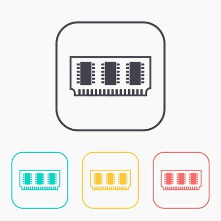 chip set: icon of memory chip color set Illustration