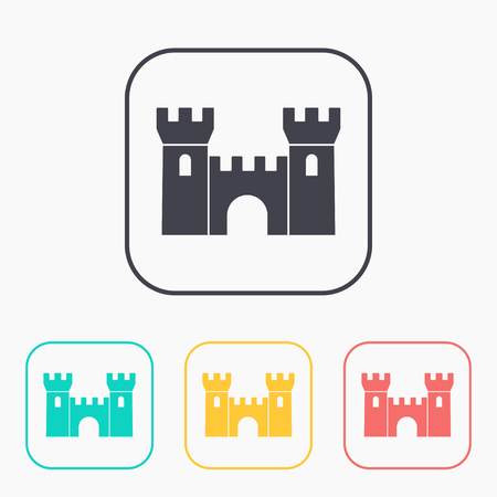 places of interest: icon of castle color set Illustration