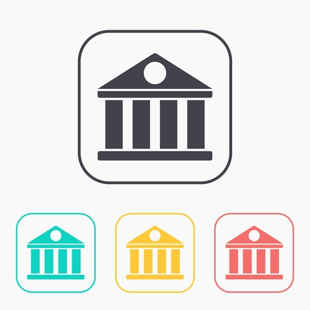 governmental: icon of court building color set Illustration