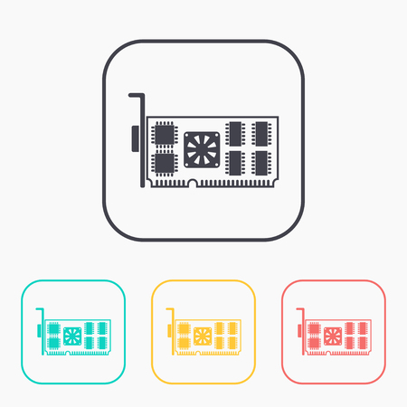 mainboard: icon of computer video card color set Illustration