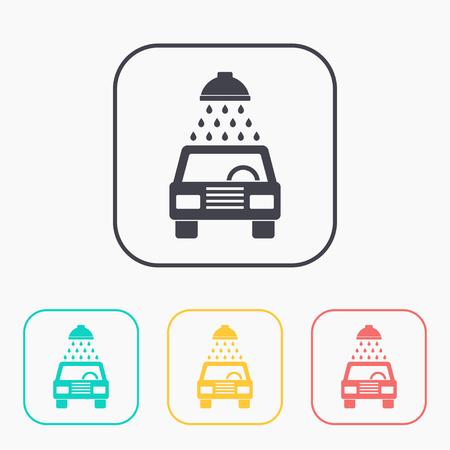 car wash: icon of car wash color set Illustration