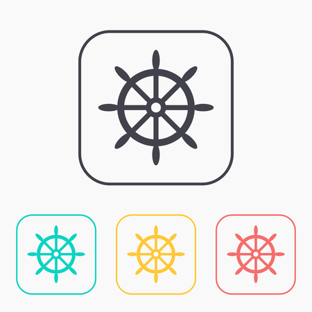 schooner: icon of steering wheel color set Illustration