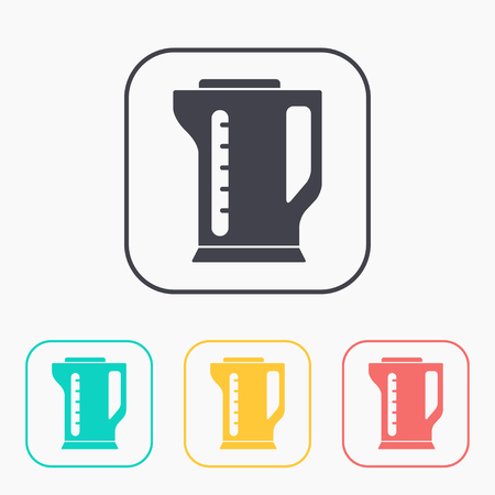 electric kettle: icon of electric kettle color set