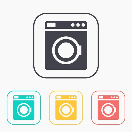major household appliance: icon of washing machine color set Illustration