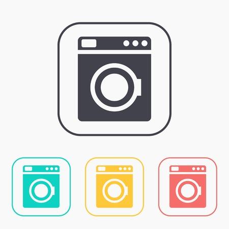 washing machine: icon of washing machine color set Illustration