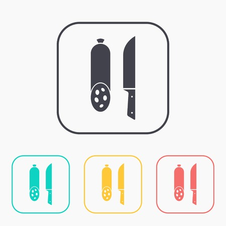 salami: icon of salami with knife color set
