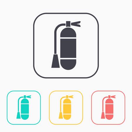firealarm: icon of fire extinguisher color set