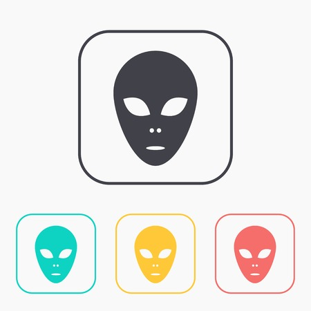 space invader: alien icon color set