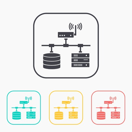 radio unit: flat computer network with database wi-fi and server color set