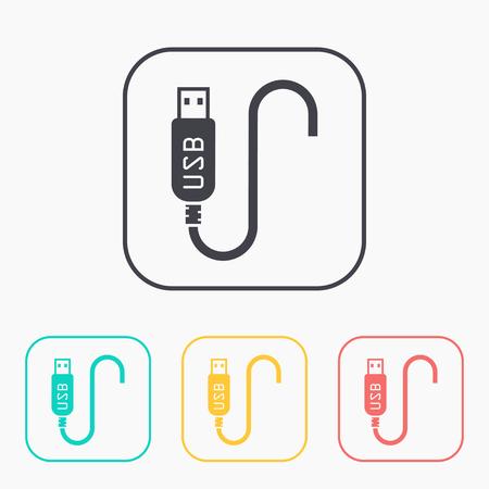 volt: usb cable icon color set