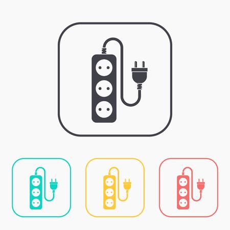 cord: extension cord icon color set