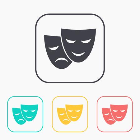 theatre masks: theatre masks icon color set Illustration