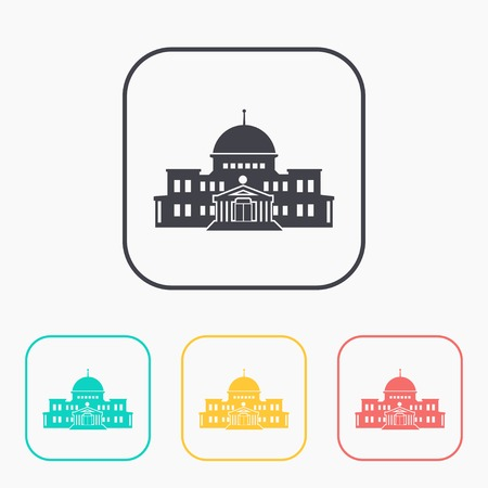 federal election: government building icon color set