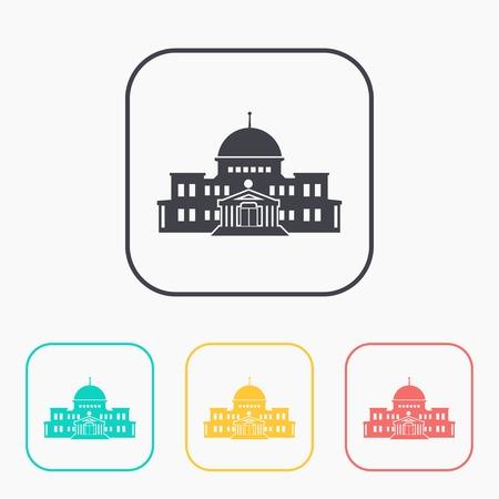 capitol hill: government building icon color set