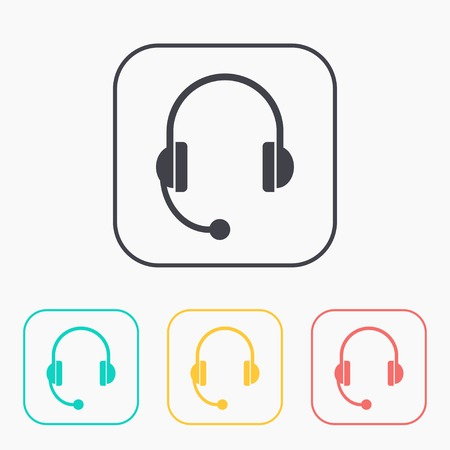 headset: headset icon color set
