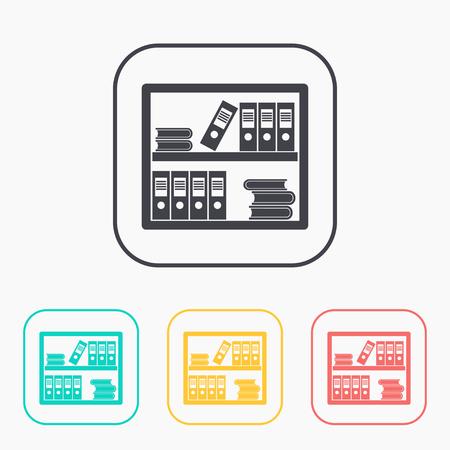 conjunto de iconos de color Estantería de oficina