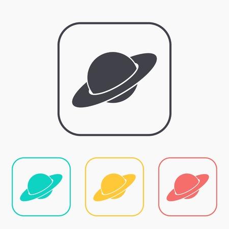 saturn planet: saturn planet silhouette icon color set Illustration
