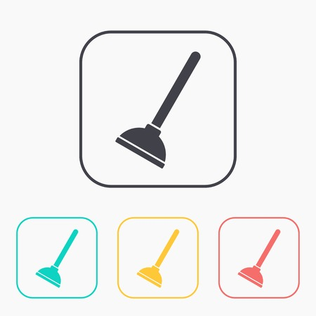 plunger: Toilet Plunger icon color set