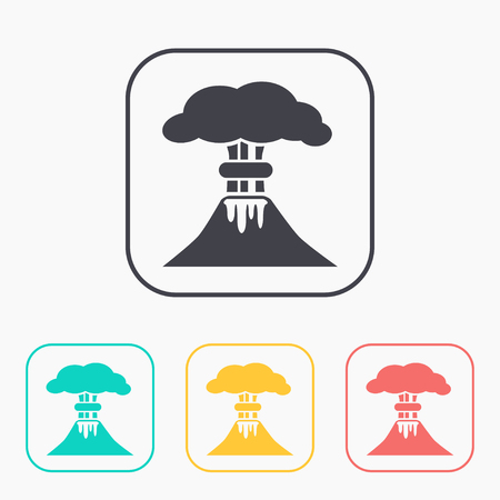 erupting: volcano mountain erupting icon color set Illustration