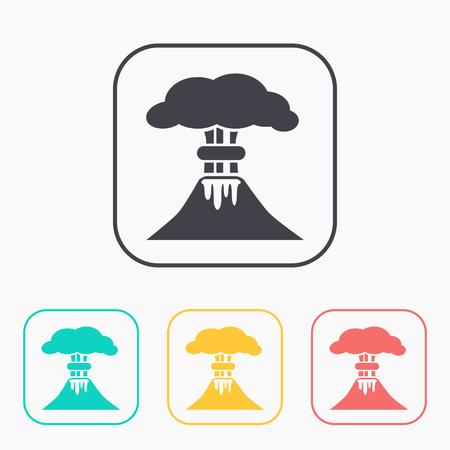 powerful volcano: volcano mountain erupting icon color set Illustration