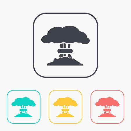 nuclear explosion: Mushroom cloud, nuclear explosion, color icon set