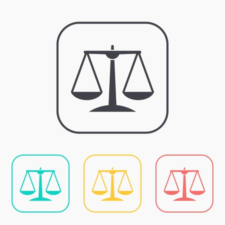 convicted: Justice scale color icon set Illustration