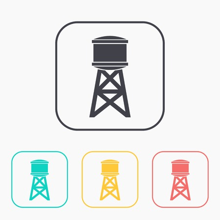 Industrial construction with water tank color icon set