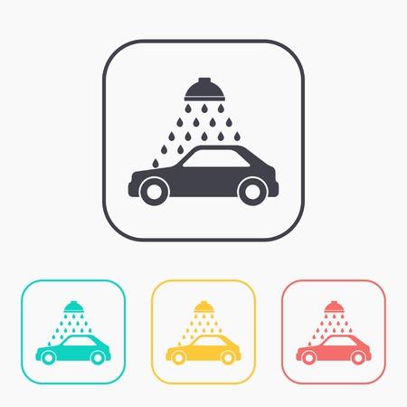 car wash: Vector color icon set of car wash Illustration