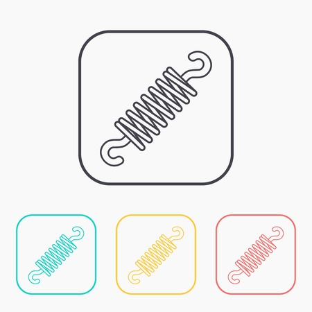 coil spring: Vector color icon set of stretching spring