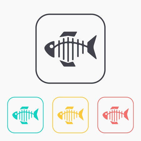 illustration of black fishbone: Vector color icon set of fishbone