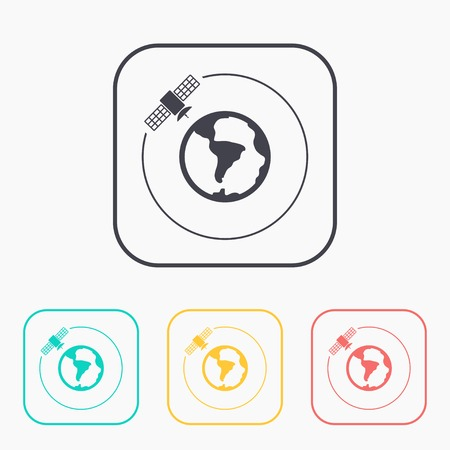 Vector artificial satellite in space, flat color icon set