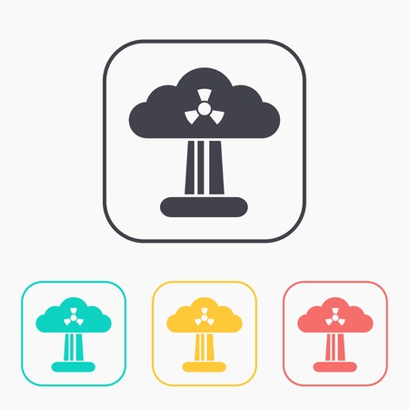 mushroom cloud: Mushroom cloud, nuclear explosion, silhouette, color icon set Illustration