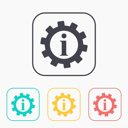 information icon: Technical information web color icon set, vector illustration