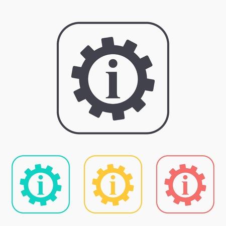 Technical information web color icon set, vector illustration