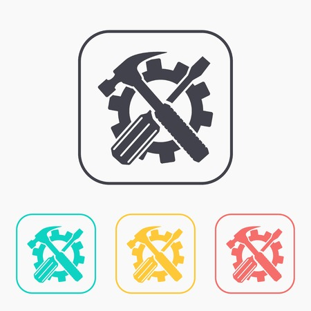caretaker: Crossed screwdriver and hammer tools, vector color icon set
