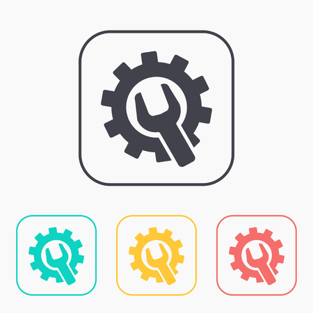 building lot: Wrench and gear color icon set, vector illustratoon