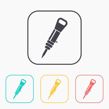 pressured: color icon set of jackhammer Illustration