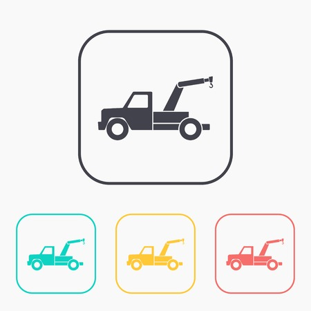 tow car: color icon set of tow car