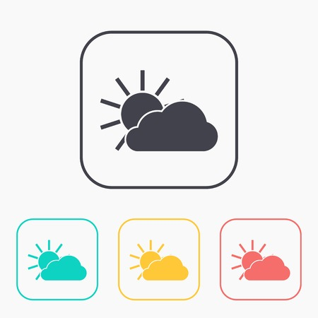 wheather forecast: color icon set of sun and cloud
