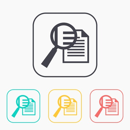 low scale magnification: color icon set of lupe document Illustration