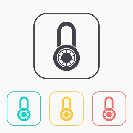 lockout: color icon set of code lock