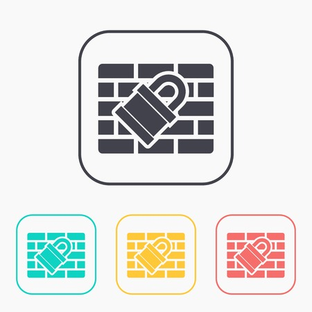 firewall: color icon set of firewall