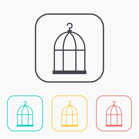 prison house: Bird cage color icon set Illustration
