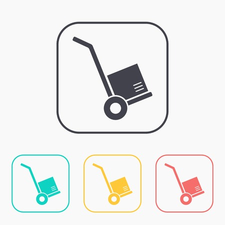 hand cart: cargo transportation with hand cart color icon set
