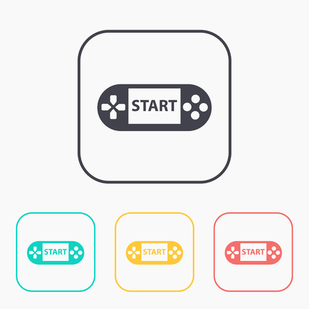 console: Handheld game console color icon set