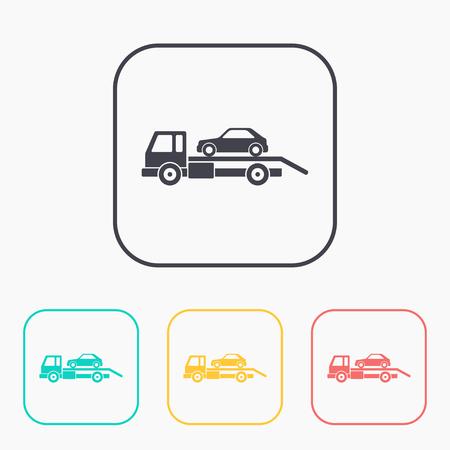 evacuacion: Tow evacuación coche color conjunto de iconos