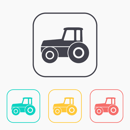 heavy duty: Tractor vector color icon set