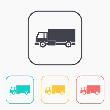 rushing: delivery truck color icon set Illustration