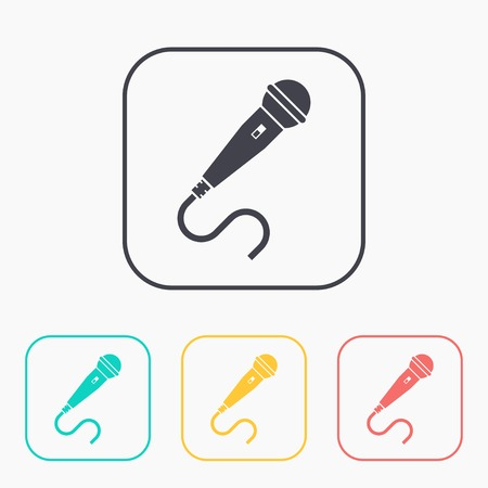 amplify: Microphone color icon set Illustration