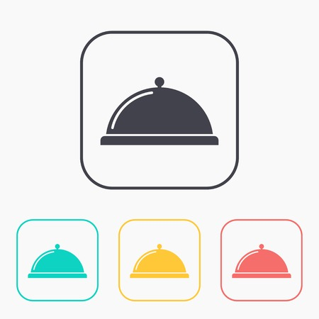 cooking chef: Food platter serving sign color icon set